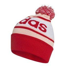 Bílo-červená dámská zimní čepice Adidas