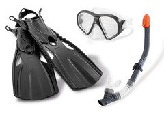 """Černá dětská potápěčská sada INTEX """"maska, ploutve, šnorchl"""""""