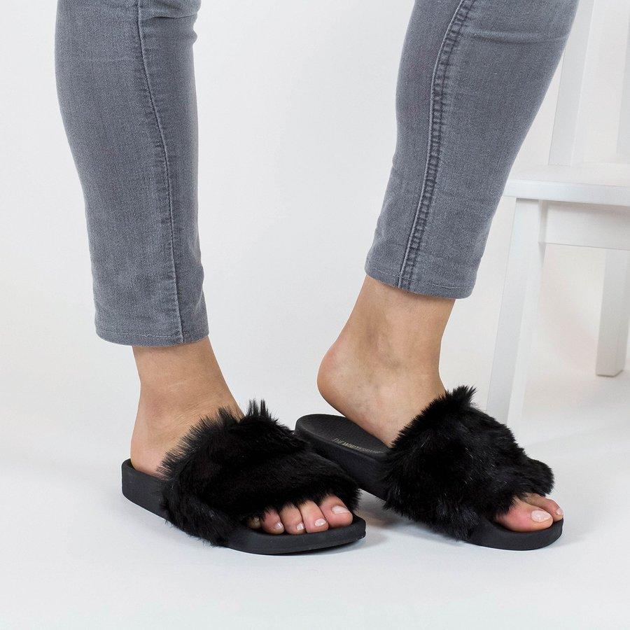 Černé dámské pantofle The White Brand