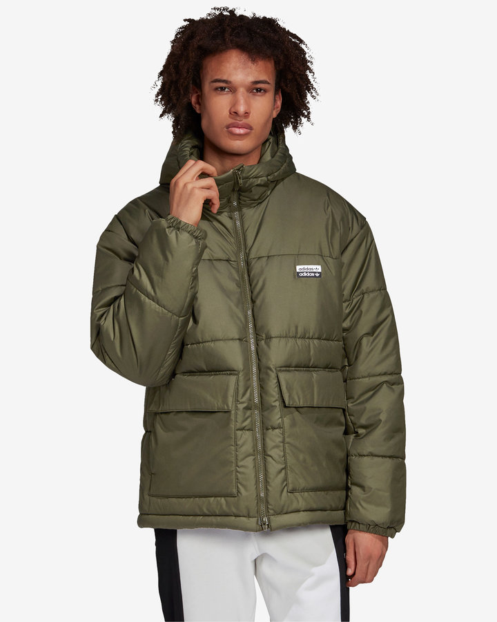Zelená zimní prošívaná pánská bunda Adidas - velikost XL