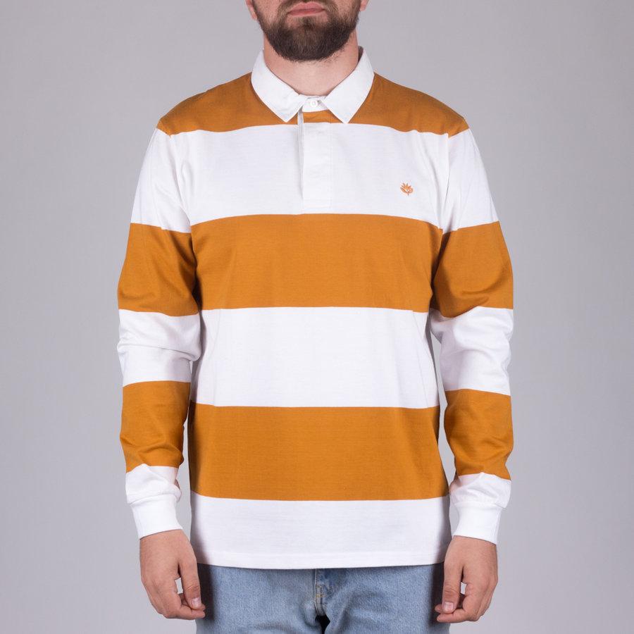 Bílo-oranžové pánské tričko s dlouhým rukávem s pruhy Rugby L/S Polo, Magenta