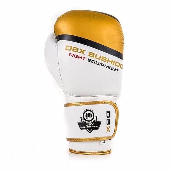 Bílo-zlaté boxerské rukavice Bushido - velikost 14 oz