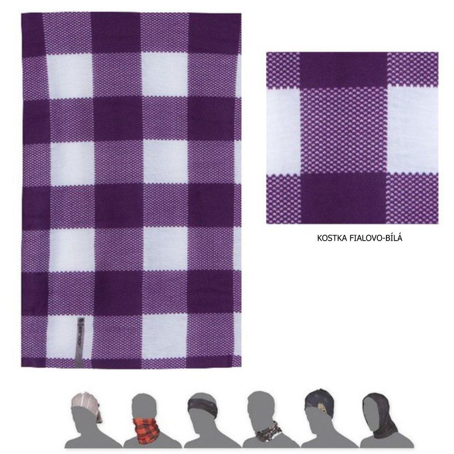 Šátek - Sensor Šátek Tube Kostka fialová bílá 16200163