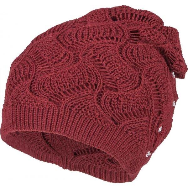 Červená dámská zimní čepice Loman - univerzální velikost