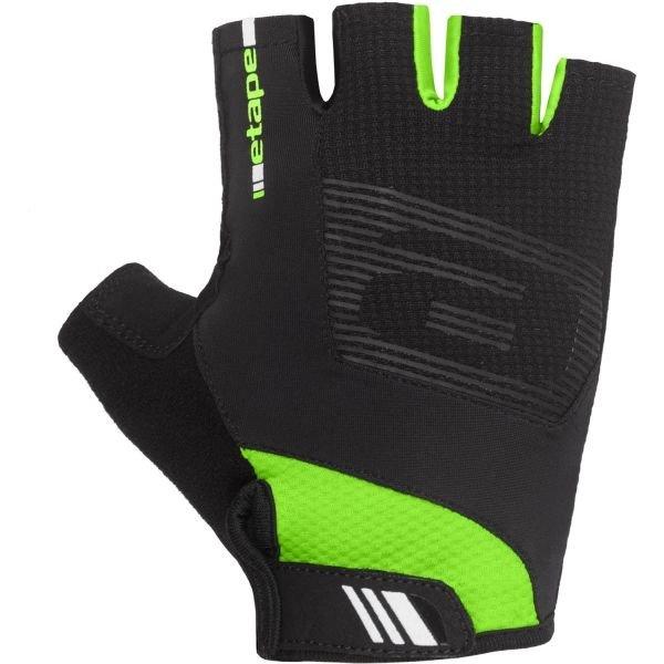 Černo-zelené cyklistické rukavice Etape