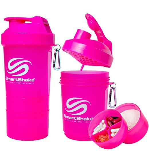Růžový shaker SmartShake - objem 600 ml