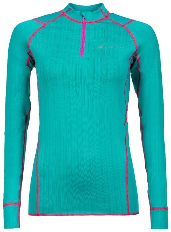 Zelené dámské funkční tričko s dlouhým rukávem Alpine Pro