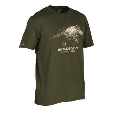 Zelené pánské lovecké tričko Solognac