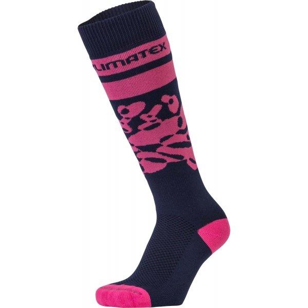 Černo-růžové dívčí lyžařské ponožky Klimatex