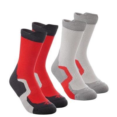 Červeno-šedé vysoké unisex ponožky Quechua - velikost 31-34 EU