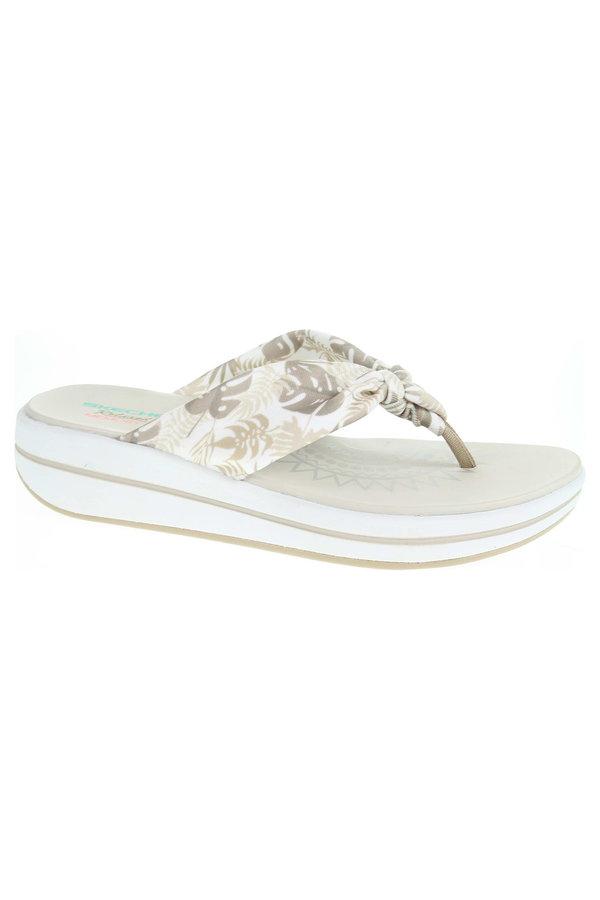 Béžové dámské pantofle Skechers
