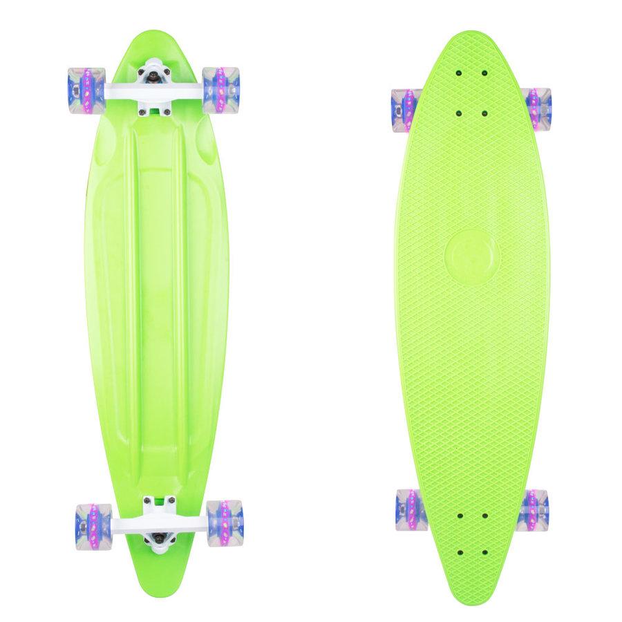 """Longboard - Plastový longboard WORKER Pike 36"""" se svítícími kolečky zelená"""