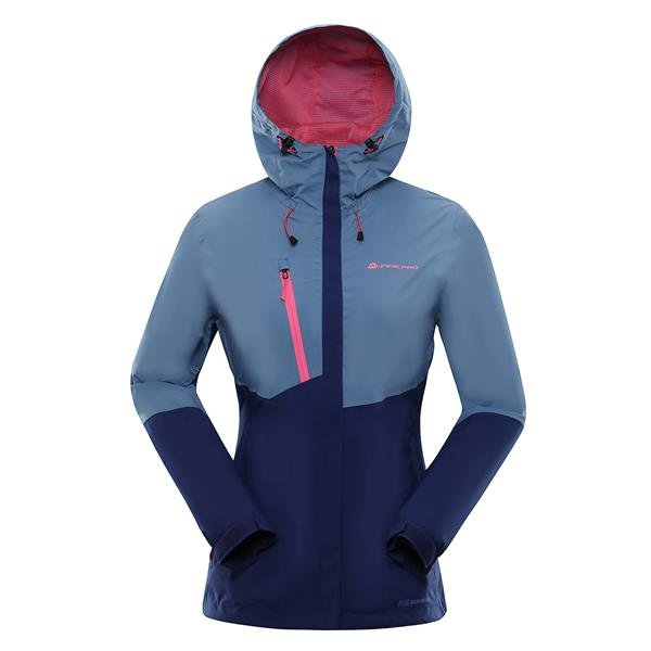Modrá nepromokavá dámská bunda s kapucí Alpine Pro - velikost S-L