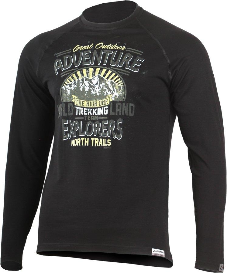 Černé pánské tričko s dlouhým rukávem Lasting
