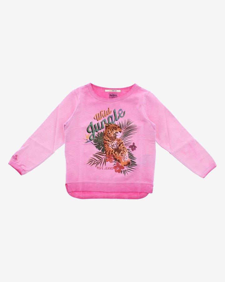 Růžová dětská dívčí mikina bez kapuce Pepe Jeans