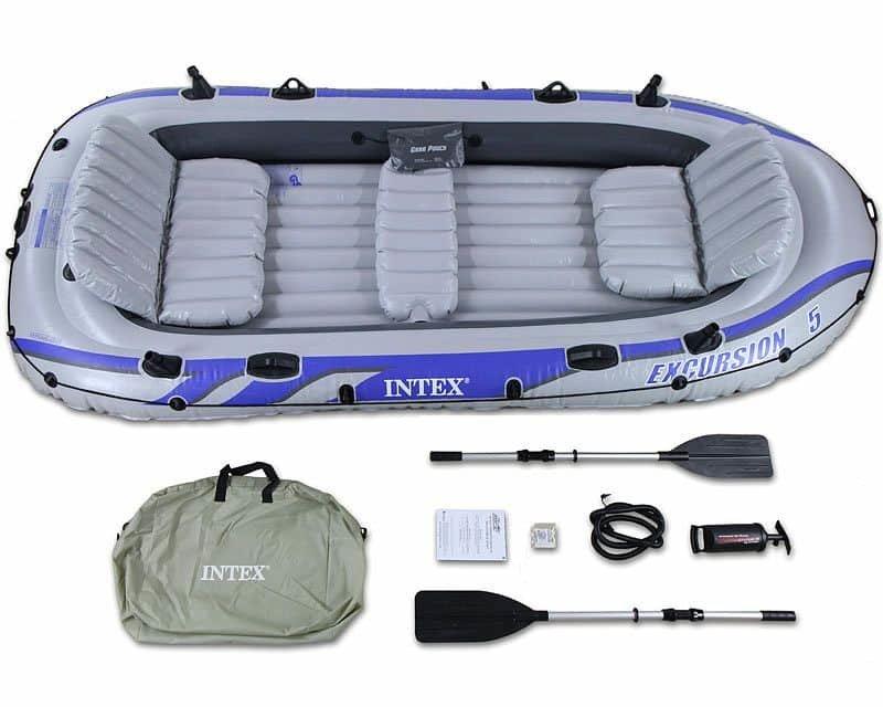 Šedý rybářský člun s nafukovacím dnem pro 4 osoby INTEX