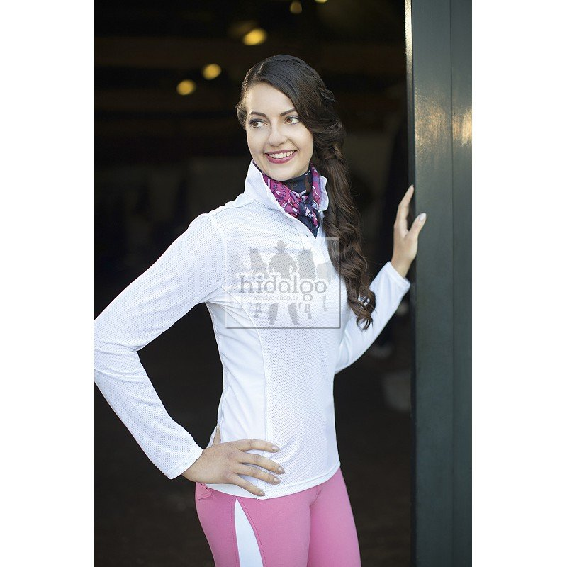 Bílé závodní dámské jezdecké tričko HKM