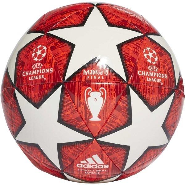 Bílo-červený fotbalový míč Adidas