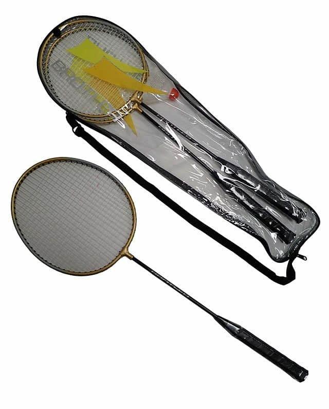 Sada na badminton - ACRA Badmintonová sada - 2 rakety+ košíček + pouzdro