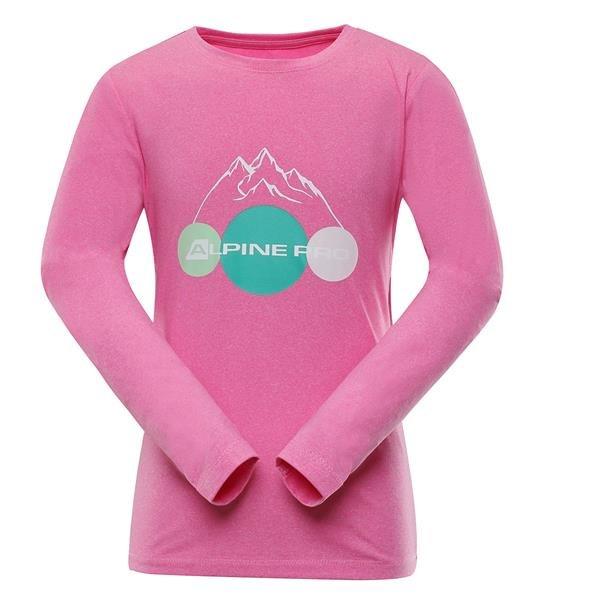 Růžové dívčí tričko s dlouhým rukávem Alpine Pro - velikost 164-170
