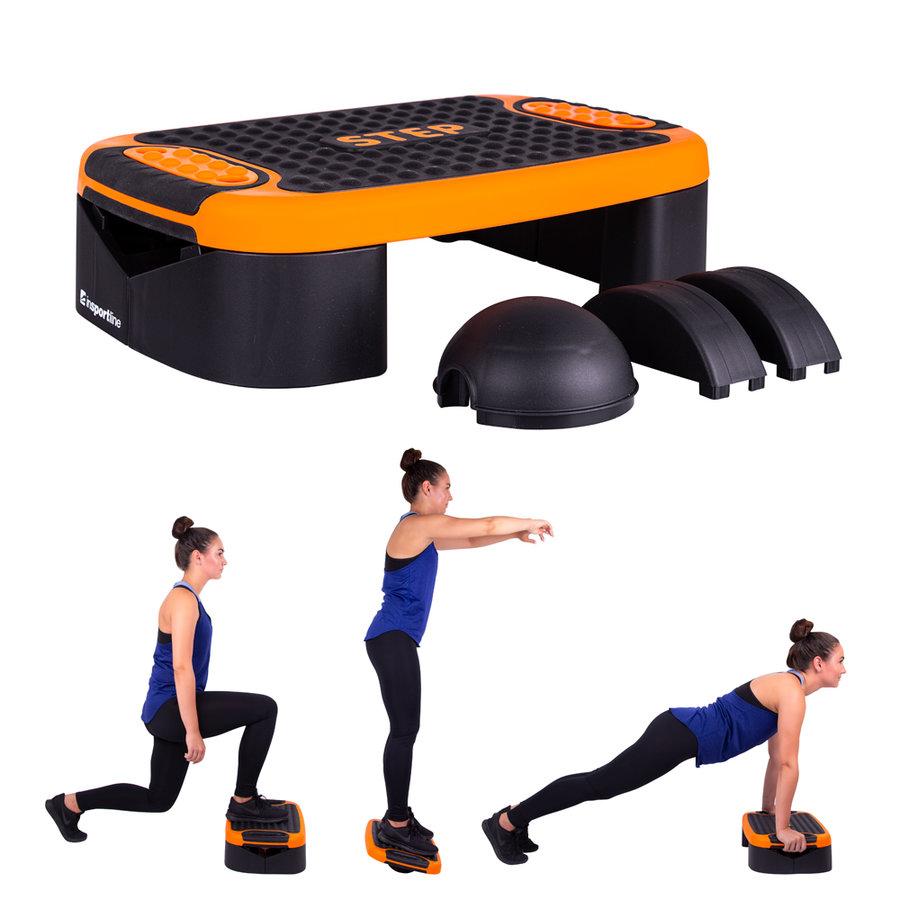 Černo-oranžový aerobic step Multifun, Insportline