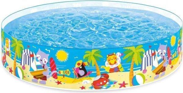 Nadzemní nafukovací dětský kruhový bazén s pevnou stěnou INTEX - objem 2089 l, průměr 224 cm a výška 46 cm