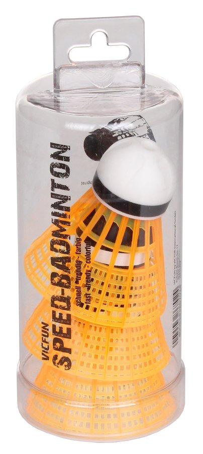 Oranžový plastový speedmintonový míček VicFun - 3 ks