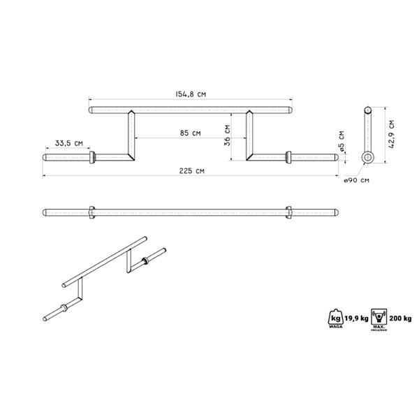 Rovná činková tyč Marbo - délka 222,5 cm