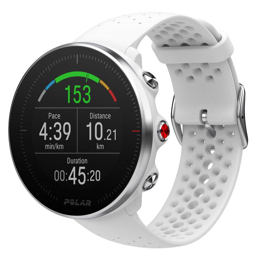 Bílé digitální sportovní chytré hodinky Polar