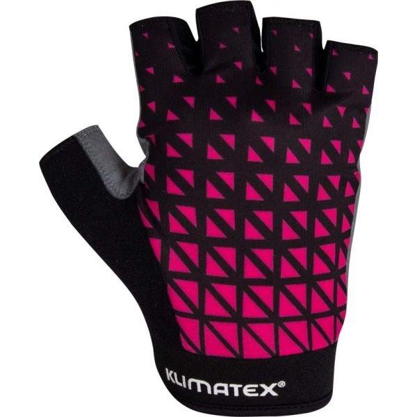 Černo-růžové dámské cyklistické rukavice Klimatex