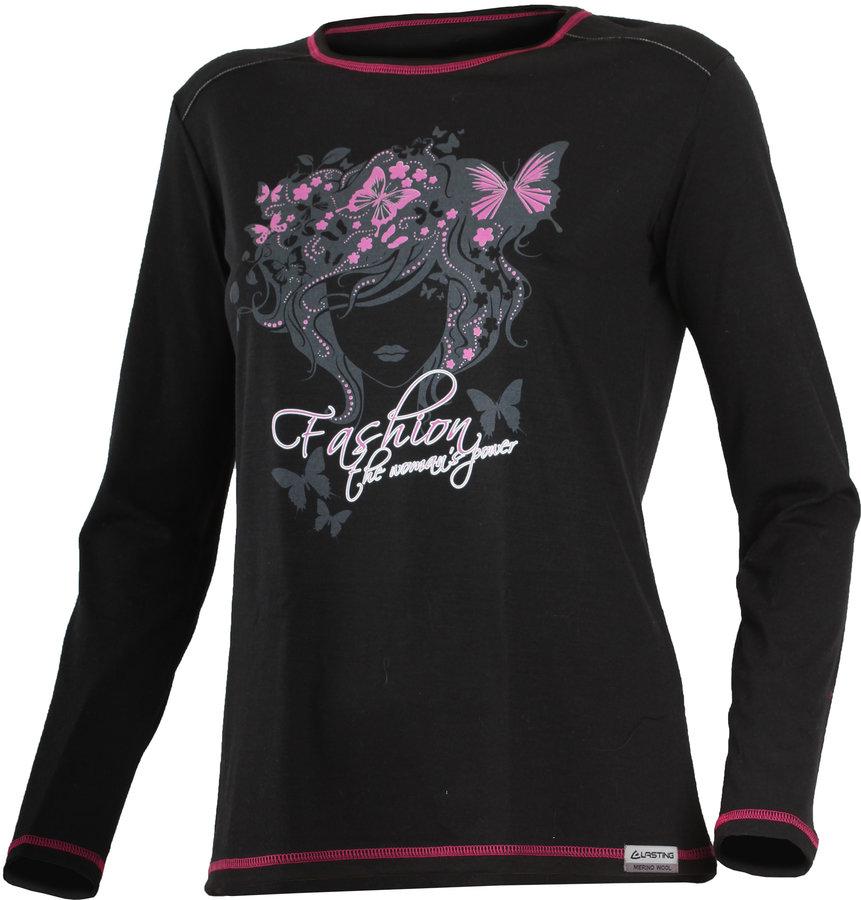 Černé dámské tričko s dlouhým rukávem Lasting - velikost S