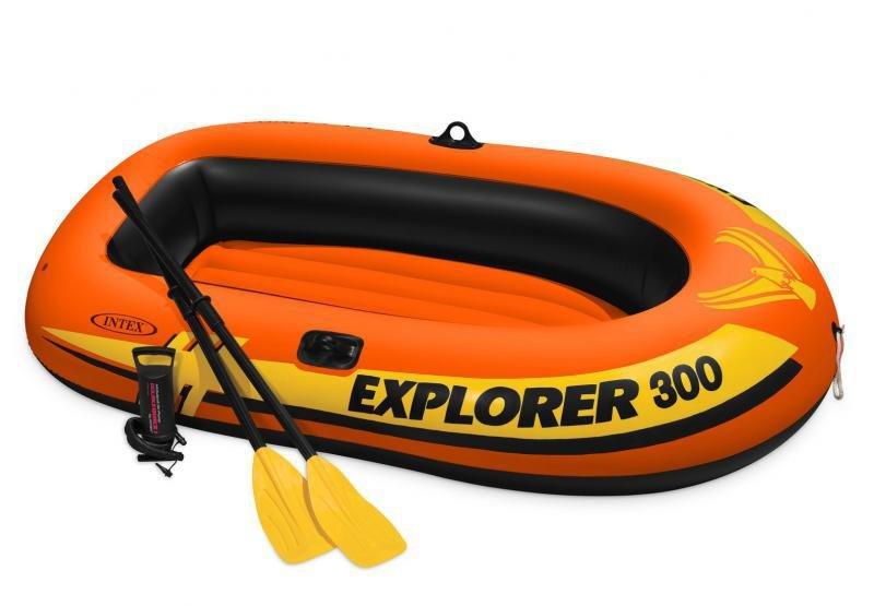 Oranžový nafukovací člun s nafukovacím dnem pro 2 osoby + 1 dítě Explorer Pro 300, INTEX