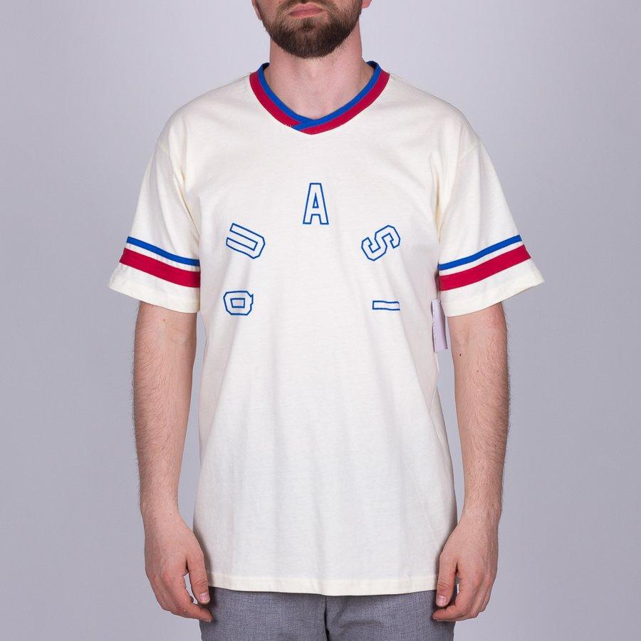 Béžové pánské tričko s potiskem s krátkým rukávem Homer Soccer, Quasi - velikost M