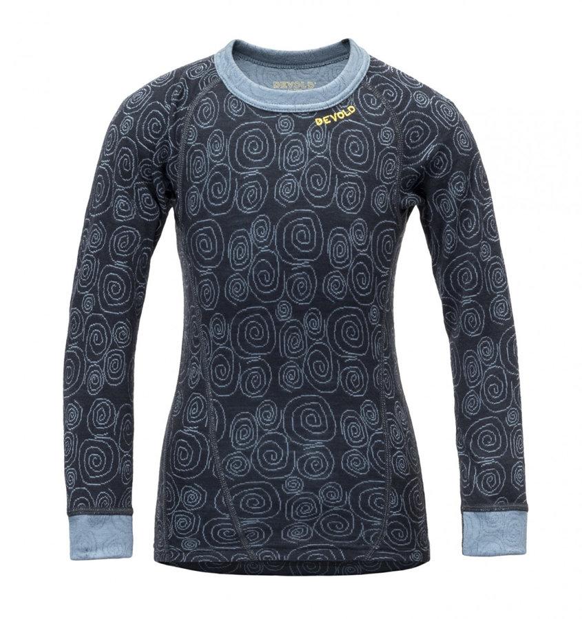 Modré dětské funkční tričko s dlouhým rukávem Devold