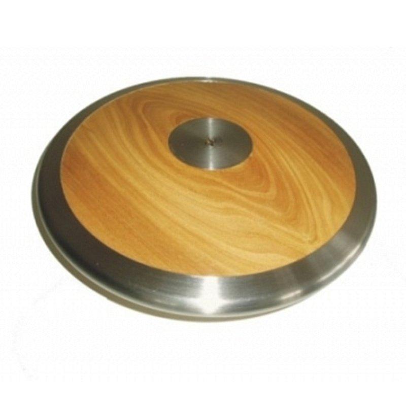 Dřevěno-chromový závodní atletický disk Sedco - 1 kg