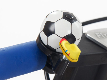 Bílo-černý dětský zvonek na kolo Fotbalový míč First BIKE