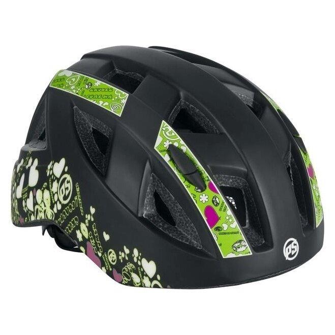 Černo-zelená dívčí cyklistická helma Powerslide - velikost 48-52 cm