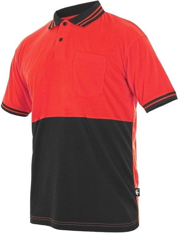 Červeno-šedá pánská polokošile s krátkým rukávem Canis