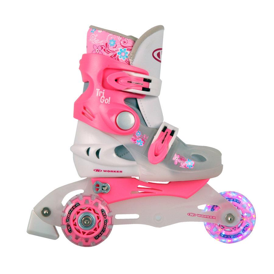 Růžové dívčí kolečkové brusle TriGo Skate LED, Worker - velikost 26-29 EU