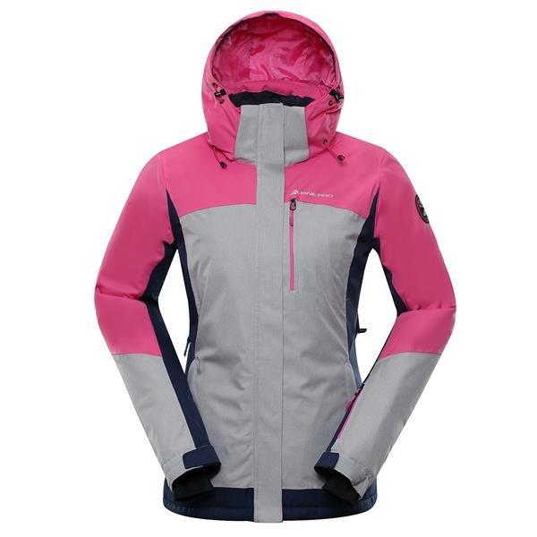 Růžová zimní dámská bunda s kapucí Alpine Pro - velikost S-L