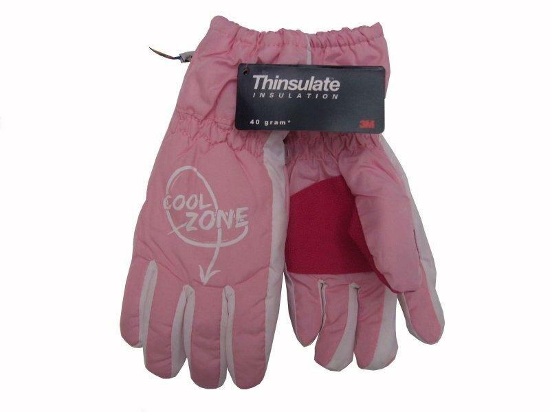 Růžové dětské lyžařské rukavice