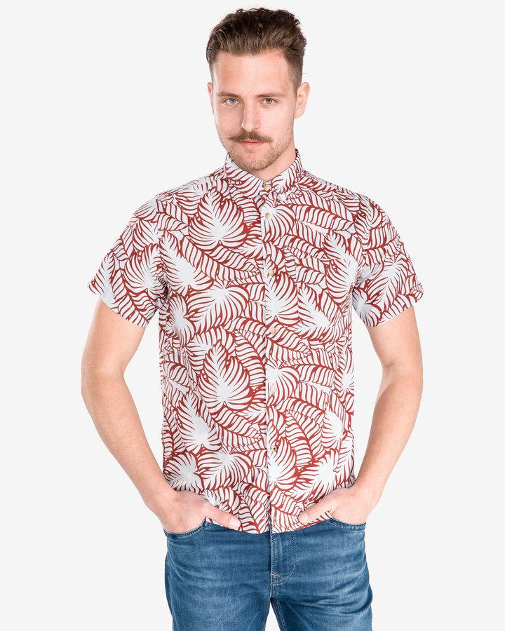 Bílo-červená pánská košile s krátkým rukávem Pepe Jeans