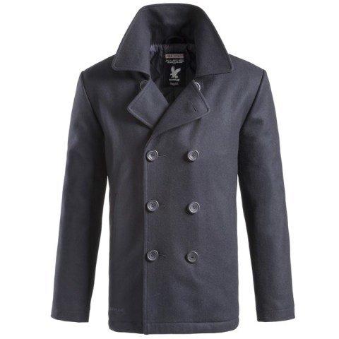 Kabát - Kabát PEA COAT NAVY MODRÝ