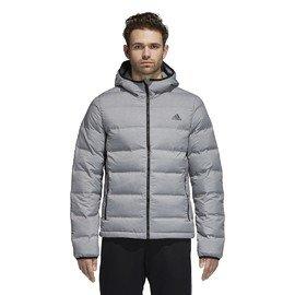 Šedá zimní pánská bunda s kapucí Adidas