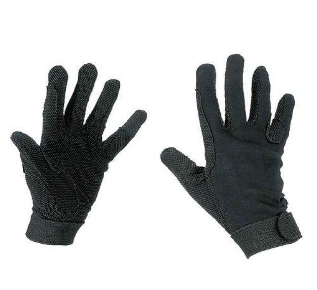 Černé unisex jezdecké rukavice Jersey, Covalliero - velikost S