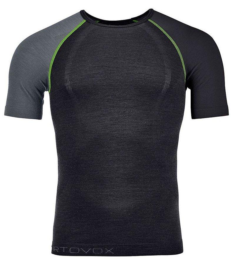 Černo-šedé pánské termo tričko s krátkým rukávem Ortovox