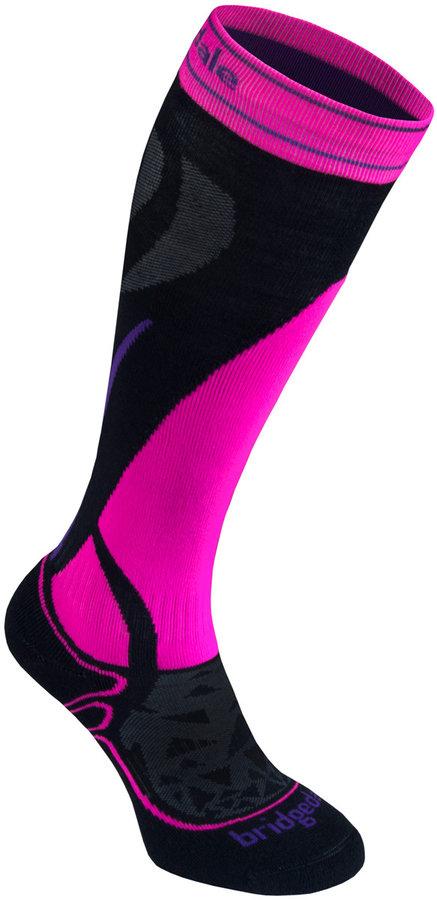 Černo-růžové lyžařské dámské podkolenky Bridgedale