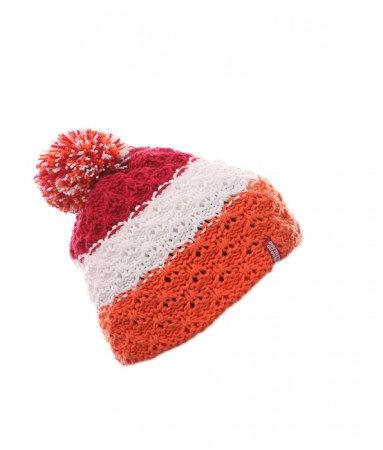 Bílo-oranžová dětská zimní čepice Nordblanc