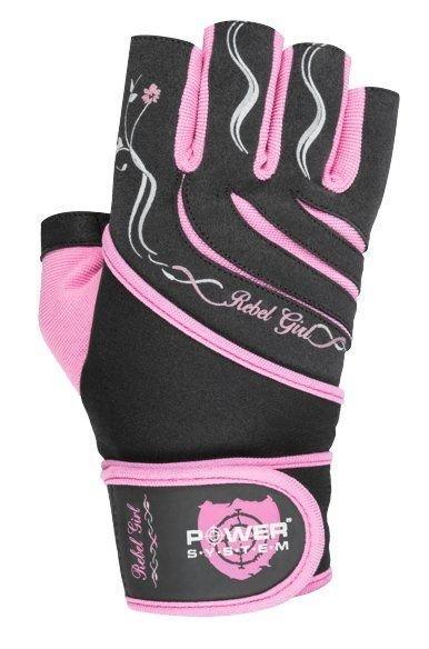Černo-růžové dámské fitness rukavice Power System