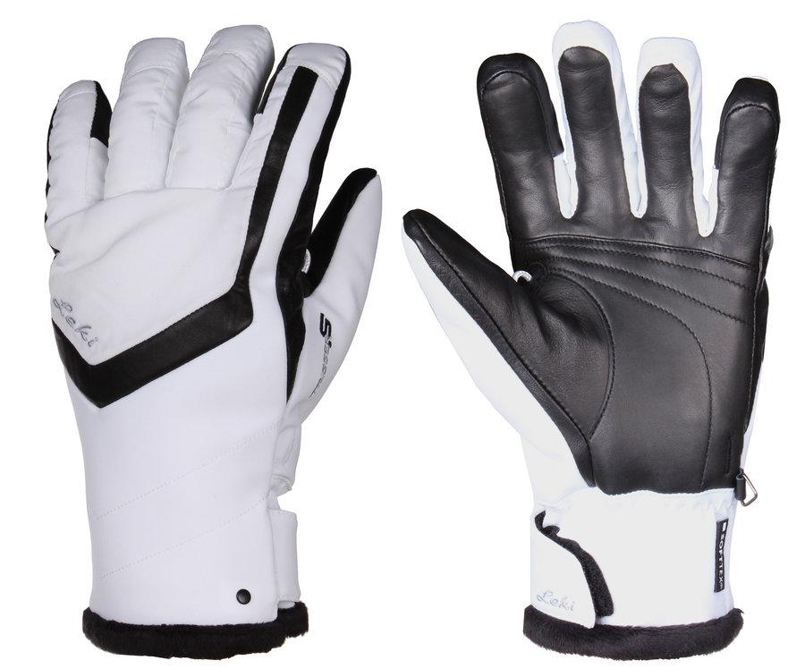 Bílé dámské lyžařské rukavice Leki - velikost 6,5
